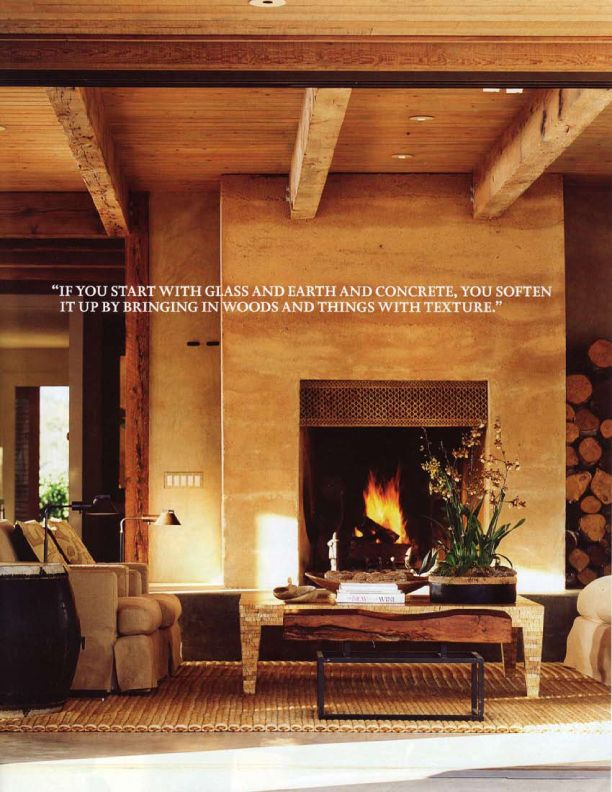 Rammed earth indoor fireplace; St Helena