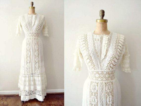 vintage 1900s dress - edwardian wedding dress / ivory lace tea dress