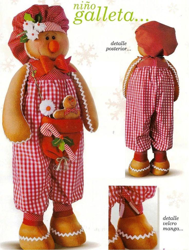 Niño galleta jengibre navideña