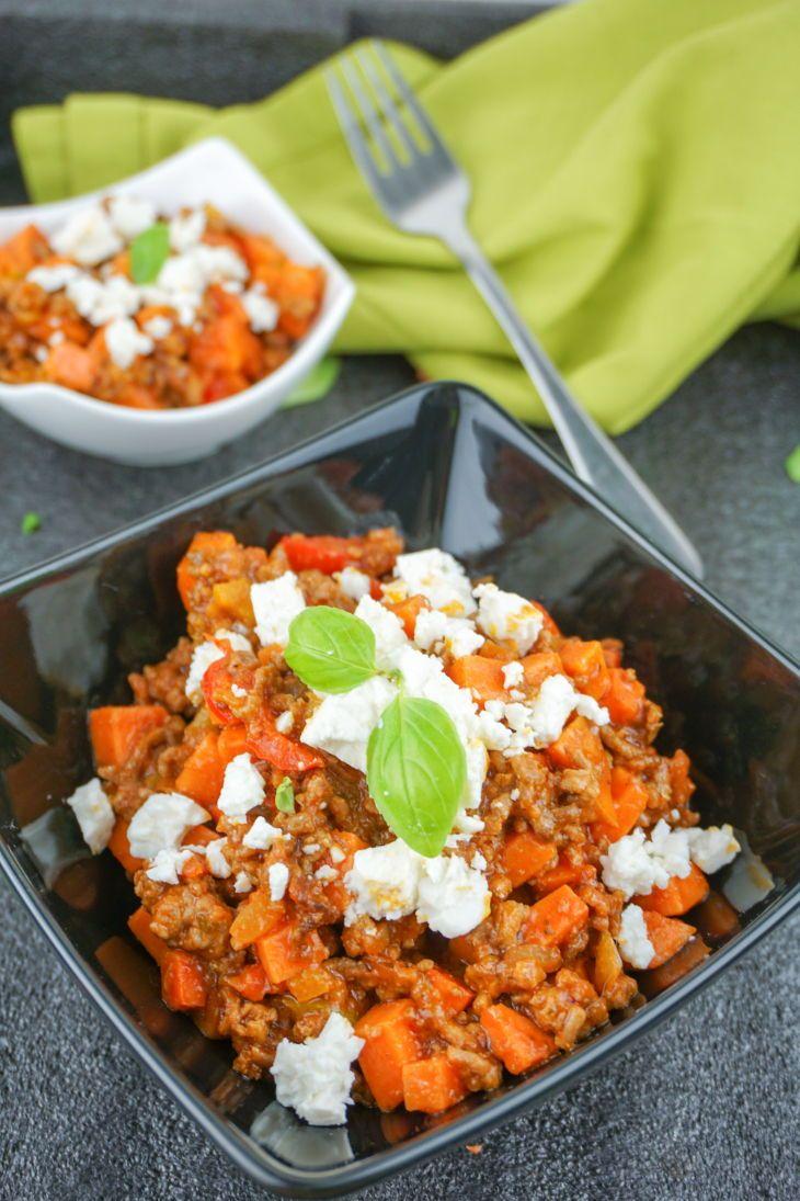 Süßkartoffel Hackfleisch Pfanne mit Feta – Gesundes Rezept für deine Diät