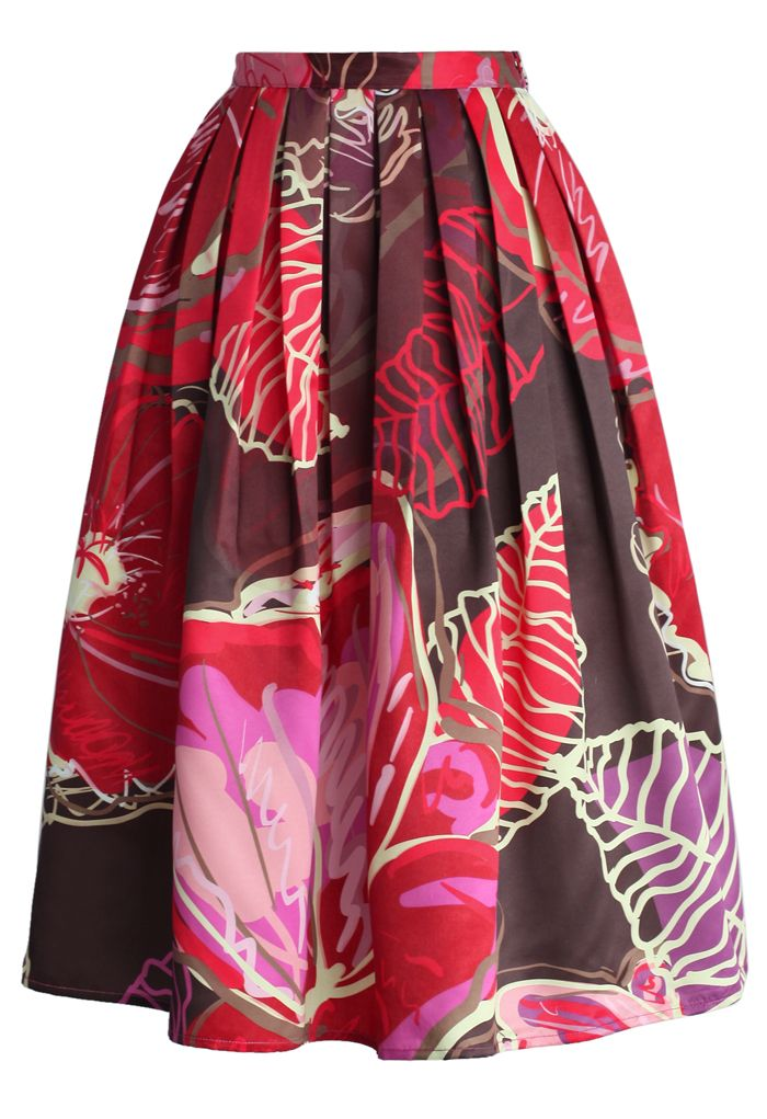 Exotic Blooms Pleated Midi Skirt - Skirt - Bottoms - Retro, Indie and Unique Fashion