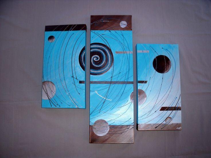 Triptyque tableau peinture moderne contemporain abstrait for Bleu turquoise et marron