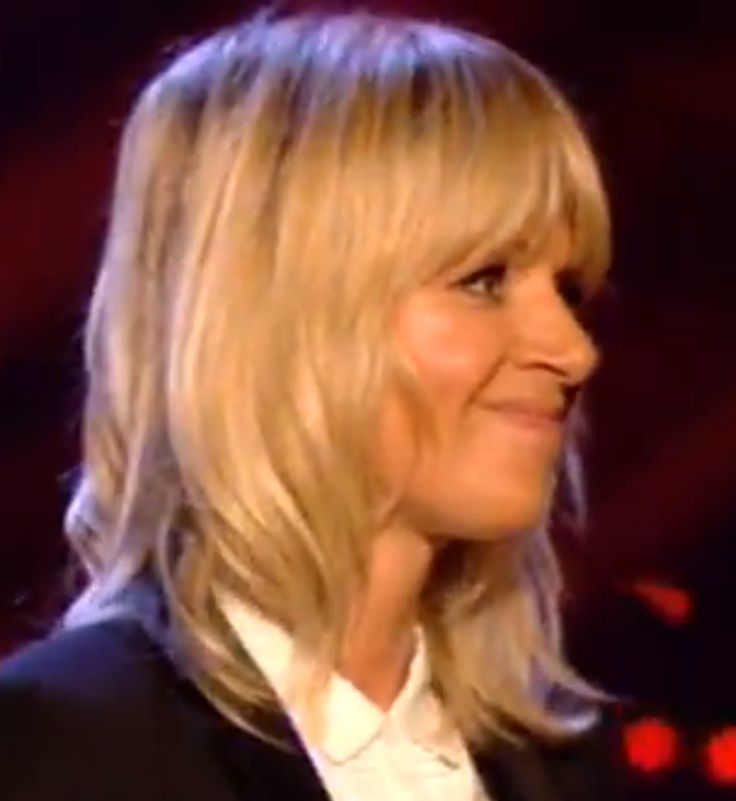 Zoe Ball, blonde, fringe, mid length hair, bangs