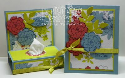 Stampin' Up! Take Care Mini Tissue Holder & Matching card by Debbie Henderson, Debbie's Designs.