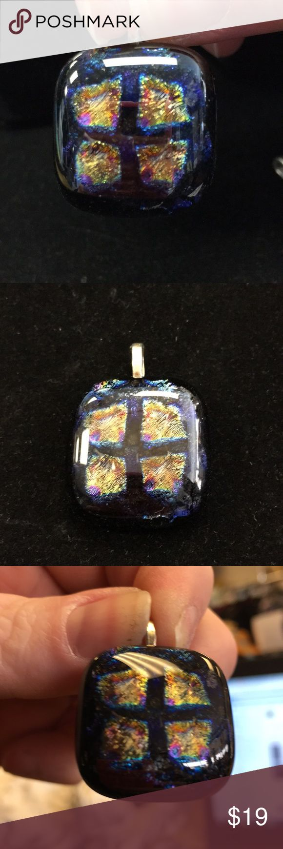 "Tardis window dichroic glass pendant Wibbley Wobbley Timey Wimey.  Dichroic glass is a glass which displays various colors by undergoing a change in certain light conditions. It is a modern composite non-translucent glass that is produced by stacking layers of metals or oxides.  Metal alloy posts.  24"" chain included. Jewelry Necklaces"