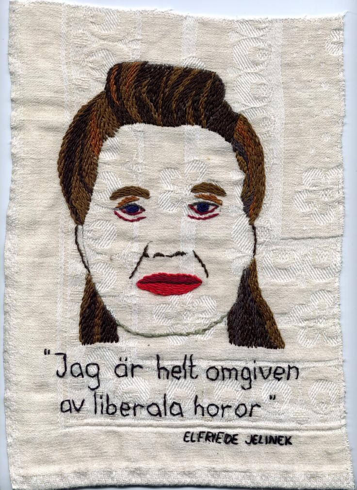 Elfriede Jelinek - broderi av Åsa Grennvall