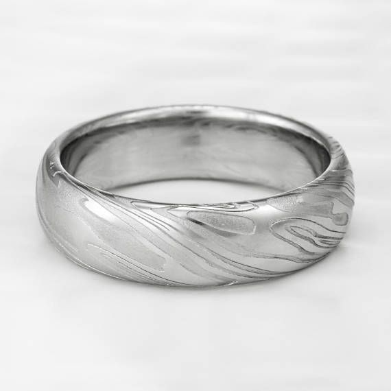 Men S Twisted Woodgrain Damascus Domed Wedding Band Etsy In 2020 Steel Wedding Ring Damascus Steel Ring Wedding Bands