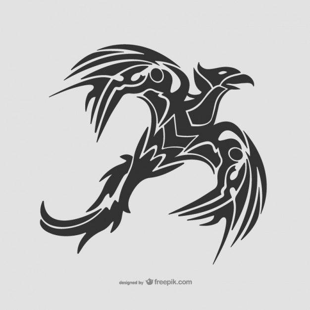 Tatuaje tribal de ave Vector Gratis