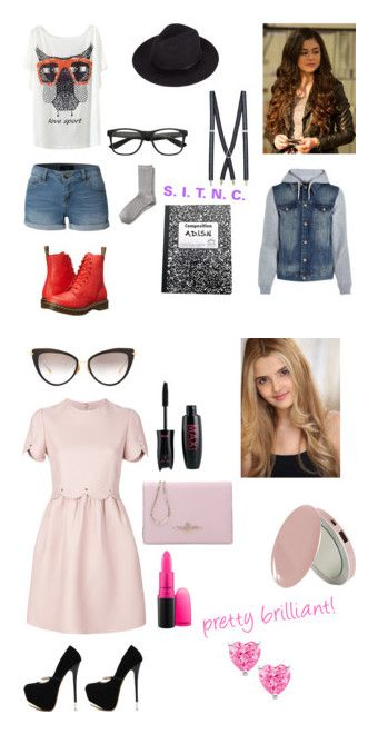 """""""Project Mc2"""" by katshans ❤ liked on Polyvore featuring LE3NO, Dr. Martens, River Island, Banana Republic, Valentino, Dita, WithChic and MAC Cosmetics"""