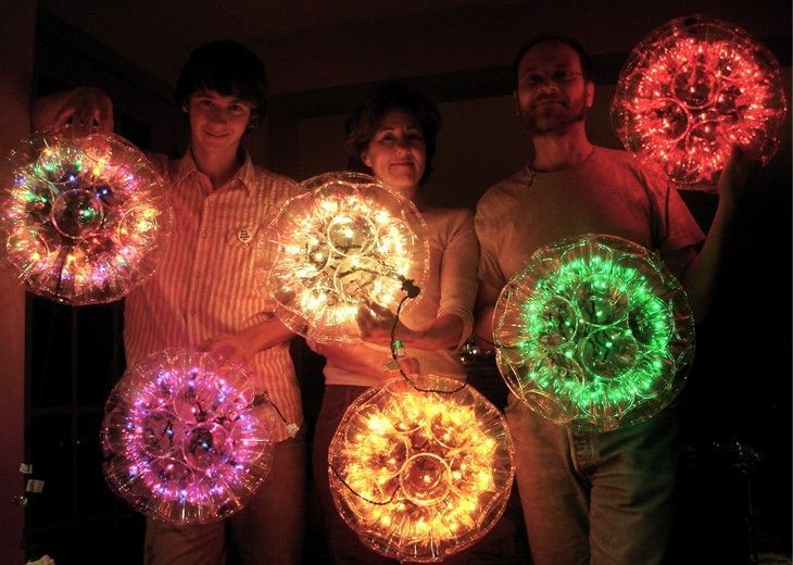 DIY Sparkleballs ~ A sparkleball is a magical ornament handmade from plastic cups and mini-lights