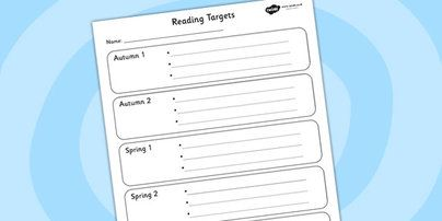 These reading targets are a great way of setting achievable targets for each child - simply write their target down and stick in the front of their books, #