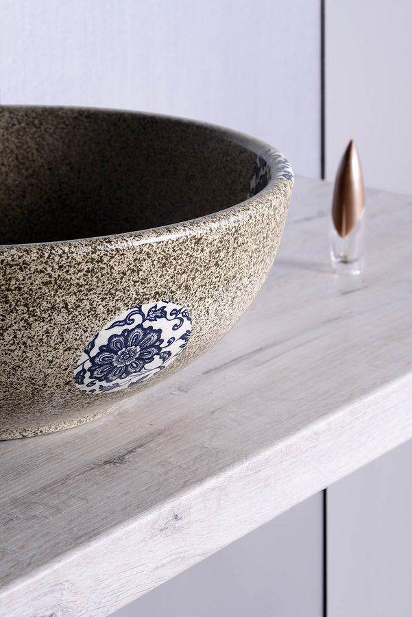 PRIORI keramické umyvadlo, průměr 42cm, 15cm, kámen s modrým vzorem, SAPHO E-shop