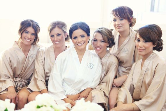 BRIDESMAID ROBES CHAMPAGNE Handmade to Order by MaySilk on Etsy