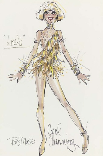 """Carol Channing - 1974 A sketch by Bob Mackie, based on a costume design by Ray Aghayan and Mackie, for Carol Channing in the Broadway production of """"Lorelie"""", felt pen, signed, the design showing Channing wearing a gold fringed shimmy dress with diamonds -- 17x11in. (43.2x28cm.)"""