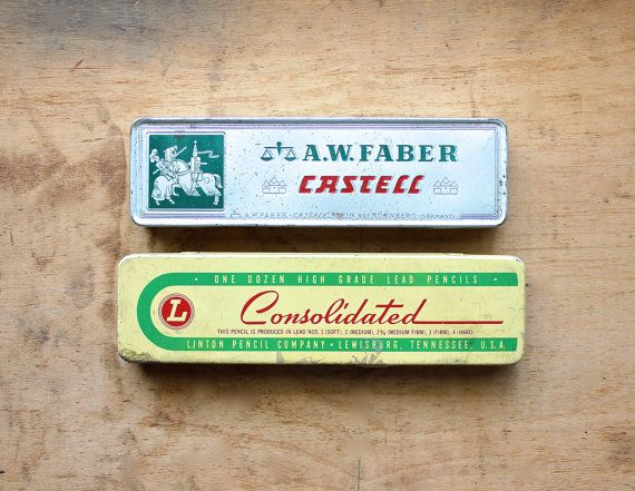 Vintage Pencil Tins via becaruns on Etsy, 18.50