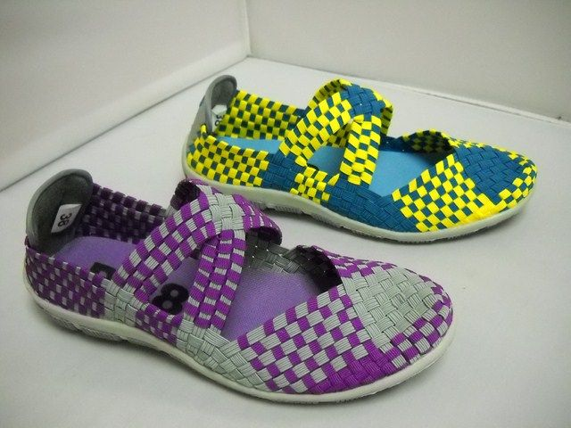 1 DV8 Kate - W - DV8 Kate  fantastic lightweight elastic woven casual.  Perfect beach or travel shoe.  Available in Purple/Grey and Blue/Yellow.  Sizes range 37-42.