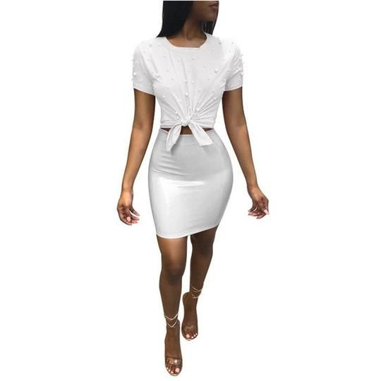 Women Summer 2 Piece Outfits Fashion Short Sleeve Pearls T-shirt Top and PU Leather Mini Skirt Set Club Wear Two Piece Dresses