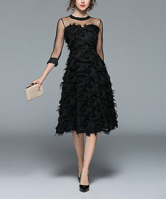 7b4087893a1 Coeur de Vague Black Feather Midi Dress - Women