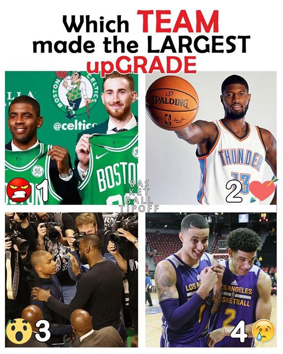 ;) 4) Los Angeles Lakers :o 3) Lebron James Cleveland Cavaliers  <3 2) Russell Westbrook & Paul George  >:( 1) Kyrie Irving Boston Celtics   Lonzo Ball KCP Kuzma and Andrew Bogut. If the Lakers hit with Ball and Kuzma they might regret not trading Brandon Ingrams if their upgrade works out they will only need one superstar next season.   Lebron James and the Cavs saved a bad offseason and no matter how people feel their off-season could only have been worse. GM Bron has saddled them with bad…