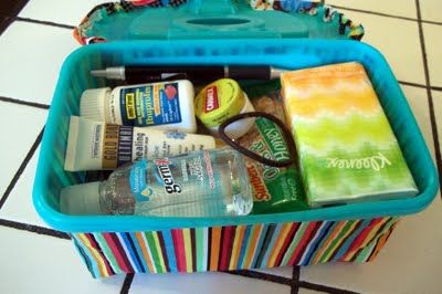 Personal emergency kit for the car that fits inside a wipes container  This is so smart...little kids or not!