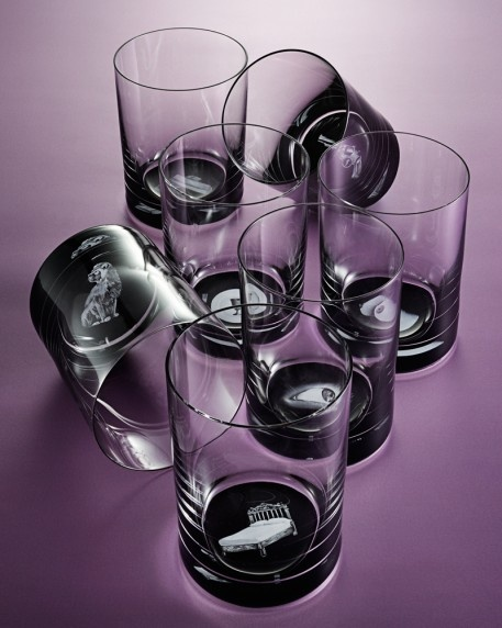 Eightieth-anniversary set of fourteen hand-cut crystal Adolf Loos tumblers, with Stefan Sagmeister's painted depictions of the Seven Deadly Sins (shown) and the Seven Heavenly Virtues. Shop now https://boulesse.com/en