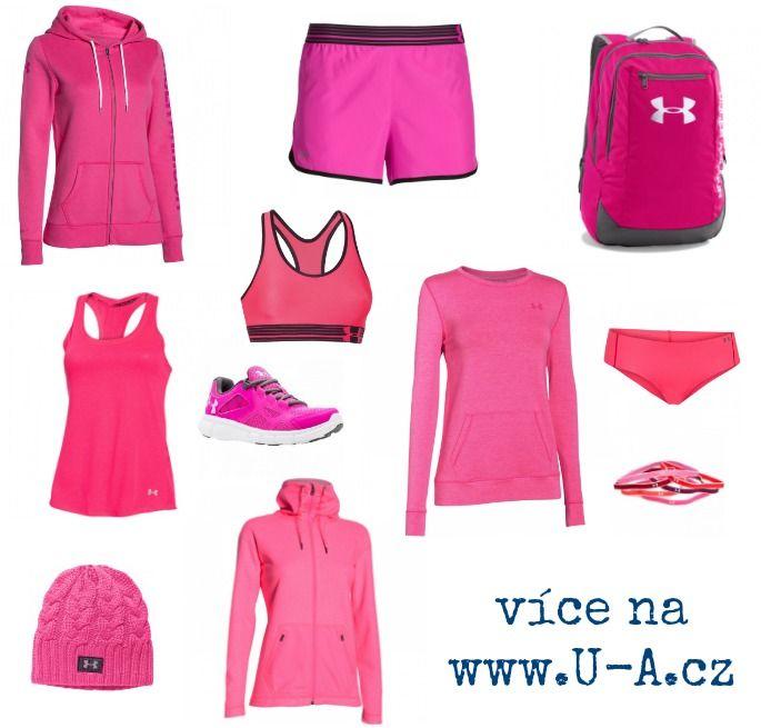 Růžová kolekce sportovního oblečení Under Armour (kamenná prodejna: General Sport, Muchova 9, Praha 6)