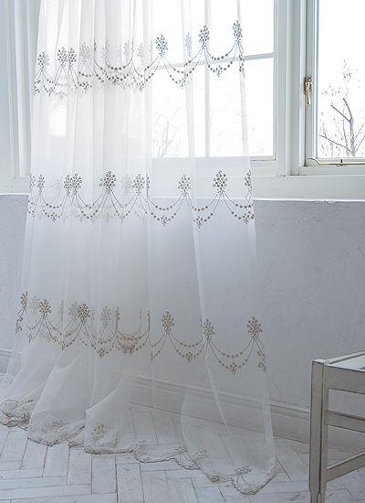 フレンチシック刺繍レースカーテン(W~200×H~200cm) - 可愛いカーテンの購入ならオーダーカーテン通販のスピルトピンク