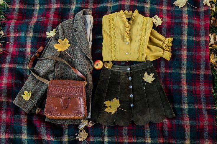 Blouse: http://retrock.com/products/yellow-blouse  Skirt: http://retrock.com/products/green-leather-skirt   Suit: http://retrock.com/products/beige-jacket  Bag: http://retrock.com/products/folk-patterned-leather-vintage-bag