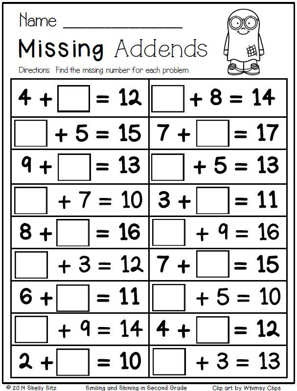 Free Halloween math--missing addends