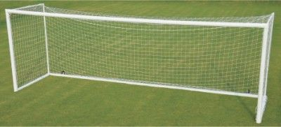 "Soccer Goal Post Steel - Prima is an official size goal post made of 4"" round heavy duty steel tube. Powder coated for extra durability and portable on wheels. Includes goal net & anchors to hold the goal securely on ground."