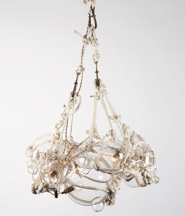 """The """"Knotty Bubble"""" chandelier by Roll & Hill, designed by Lindsey Adelman: Bubbles Chandelier, Beach House, Lighting, Lindsey Adelman, Chandeliers, Bubble Chandelier, Knotty Bubbles, Small Bubbles, Design"""