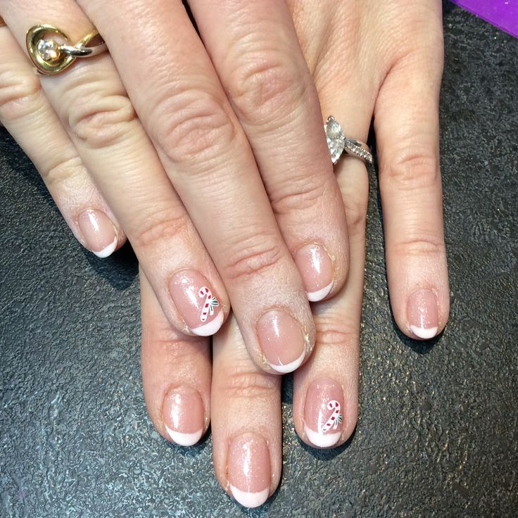 French Shellac with candy cane stamping