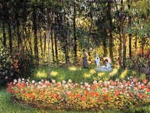 The Artists Family In The Garden  Claude Oscar Monet