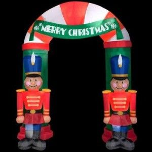 Lighted Nutcracker Archway Inflatable Christmas Outdoor Holiday Display Yard Decor Welcome friends and family in festive style this holiday season with this large and colorful 8 ft. Inflatable Nutcracker Archway.