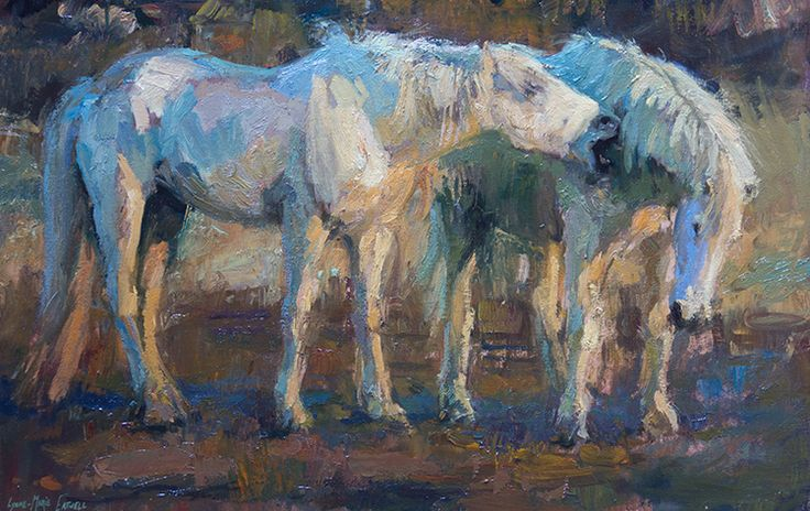 Oil painting by Lynne-Marie Eatwell, Camargue Horses playing, equine art, white horses, horse art, South African Artist