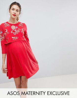 c3775d8809703 MATERNITY NURSING Double Layer Skater Dress With Embroidery | BuBu | Asos  maternity, Maternity nursing et Maternity robe