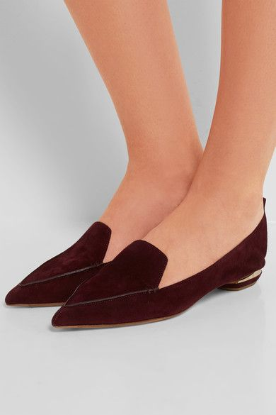 Sculpted gold heel measures approximately 20mm/ 1 inch Plum suede Slip on Made in Italy