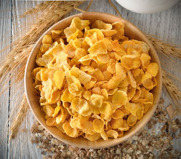 Corn Flakes In Wood Bowl Corn Flakes Healthy Honey Food