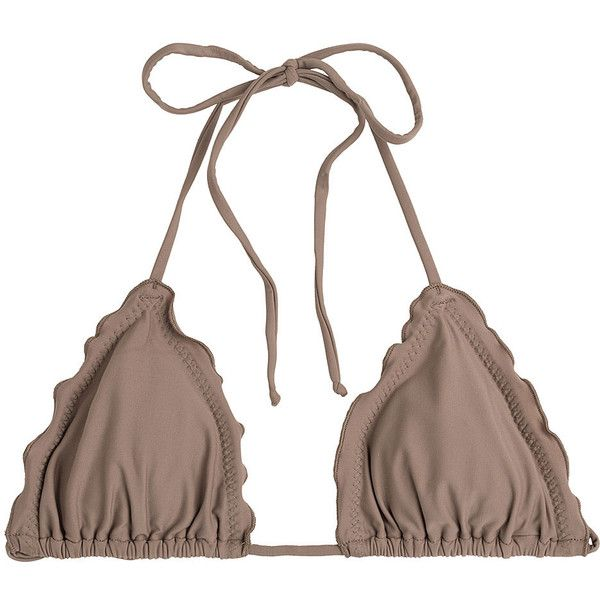 Luli Fama Cosita Buena Wavey Triangle Bikini Top ($61) ❤ liked on Polyvore featuring swimwear, bikinis, bikini tops, brown, triangle bikini top, luli fama swimwear, string bikini, beach swimwear and triangle bikini
