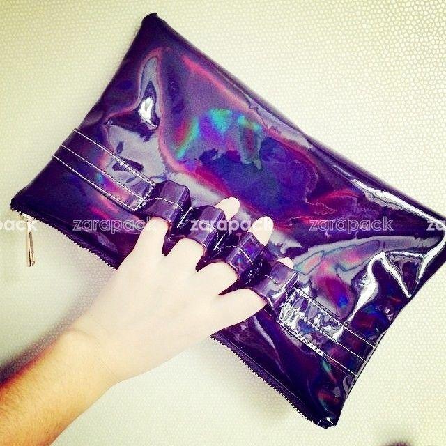 Designer 3 Hologram Color Leatherette Women Clutch Handbag Purse IT Bag #unbranded #Clutch
