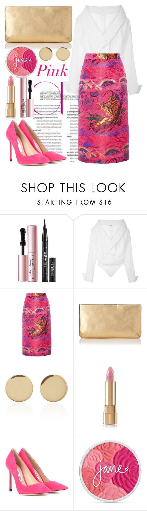 """""""Pink🦄"""" by ana-maria-punga ❤ liked on Polyvore featuring Too Faced Cosmetics, Johanna Ortiz, Gucci, L.K.Bennett, Magdalena Frackowiak, Dolce&Gabbana and Jimmy Choo"""