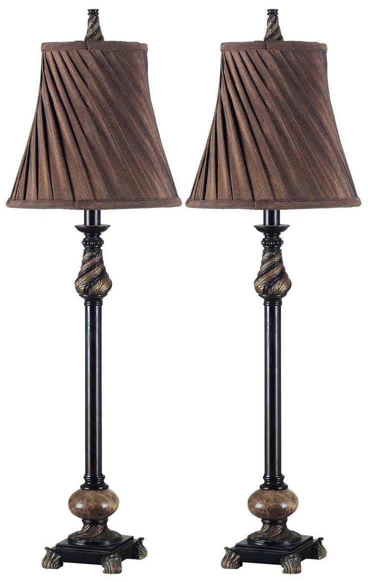 Buffet lamps shades - Set Of 2 Aruba Bronze Buffet Lamps Style P0701