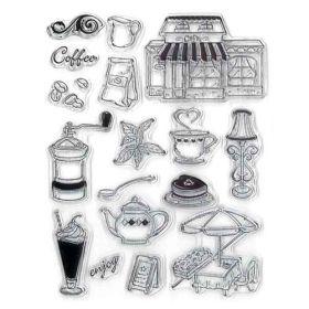 Sello de silicona con motivos relacionados con la merienda.  Se utilizan igual que los sellos de caucho, se necesita la base para sellos.  1. Se coloca el sellos sobre la base acrílica para sellos.  2. Se presiona el sello sobre una almohadilla de tinta.  3. Se estampa la imagen en el lugar que más te guste.  4. Se limpia el sello con agua y se deja secar.