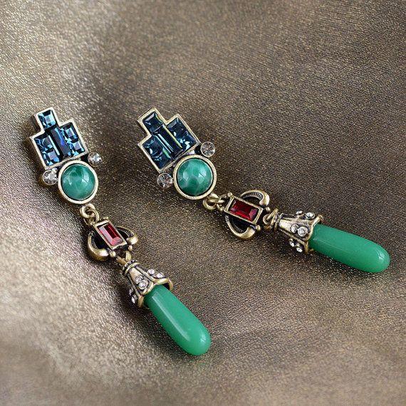 Vintage Art Deco gota pendientes, joyas de Jade, pendientes verde, joyería de la…