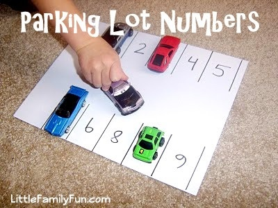 Fun way to practice numbers! I would change a little by putting a number on the car and park it in the space that comes before or after the car number,