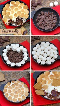 Dip de chocolate y nubes (s'mores dip)