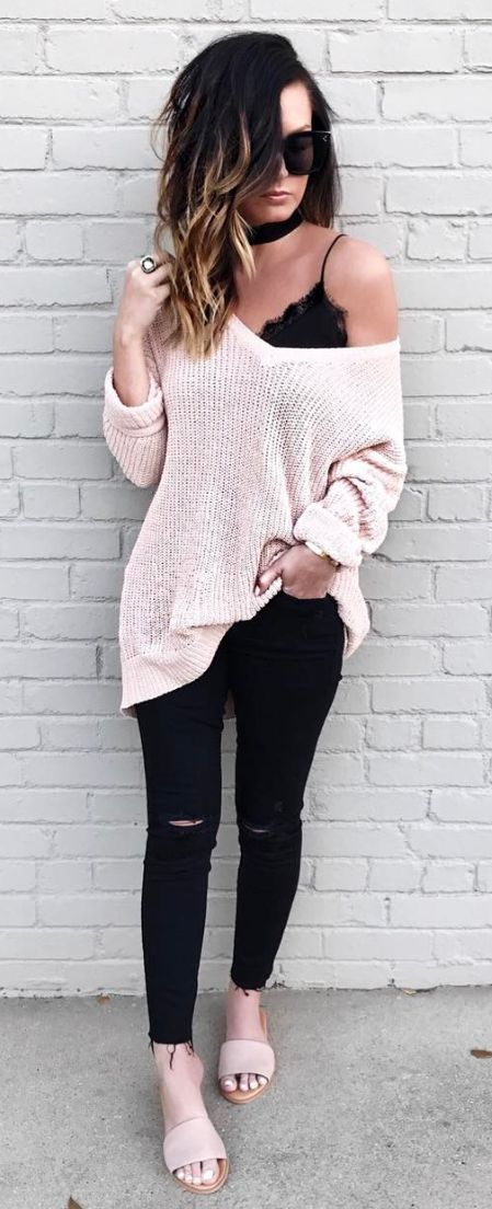 #fall #outfits women's white knitted sweater and black skinny jeans