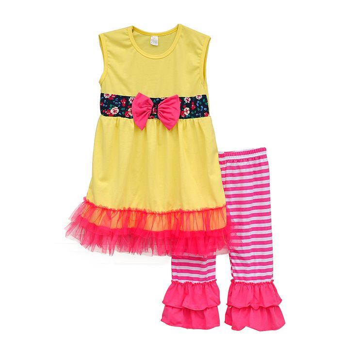 Прекрасный летний стиль малыша девочка комплект одежды желтое платье цветочный пояс с бантом декор шифон подол + розовый рюшами брюки ST046 дд