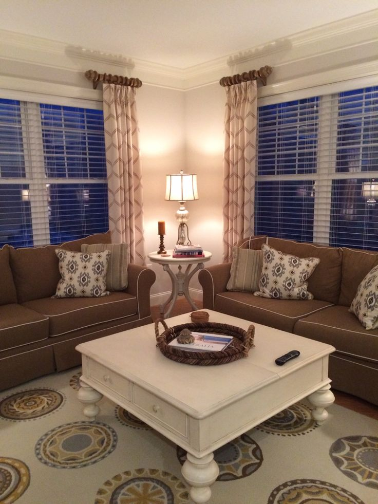 Living Room Curtains Ideas: Stationary Pinch Pleated Side Panels On Chunky Wood Pole