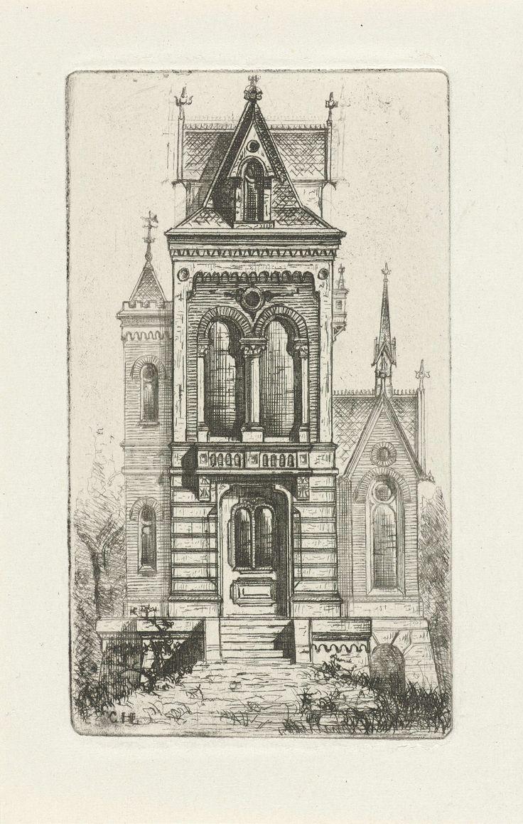 Cornelis Johan Laarman | Gotische gevel met torentje, Cornelis Johan Laarman, 1854 - 1889 | Vooraanzicht van een gotisch huis met links een torentje.